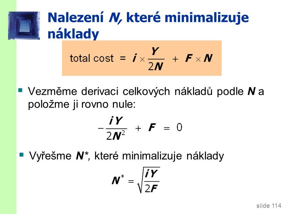 slide 114 Nalezení N, které minimalizuje náklady  Vezměme derivaci celkových nákladů podle N a položme ji rovno nule:  Vyřešme N*, které minimalizuje náklady