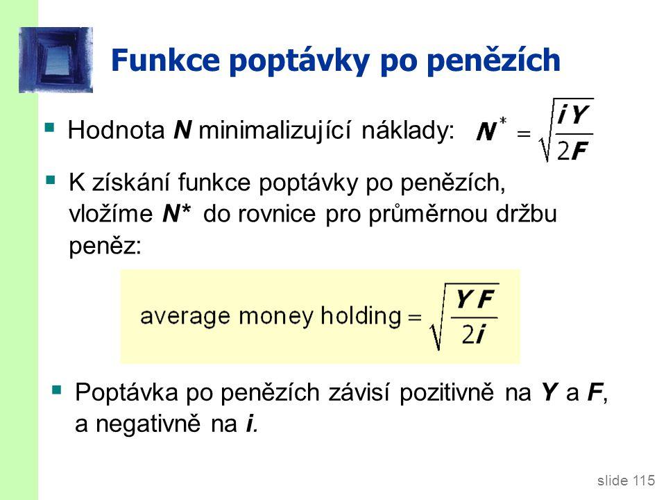 slide 115 Funkce poptávky po penězích  Hodnota N minimalizující náklady:  K získání funkce poptávky po penězích, vložíme N* do rovnice pro průměrnou držbu peněz:  Poptávka po penězích závisí pozitivně na Y a F, a negativně na i.