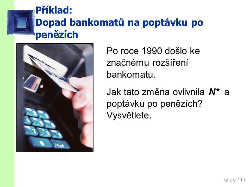 slide 117 Příklad: Dopad bankomatů na poptávku po penězích Po roce 1990 došlo ke značnému rozšíření bankomatů.