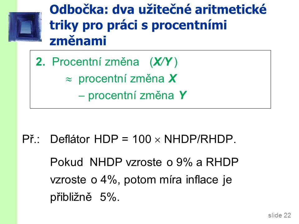 slide 22 Odbočka: dva užitečné aritmetické triky pro práci s procentními změnami Př.:Deflátor HDP = 100  NHDP/RHDP.