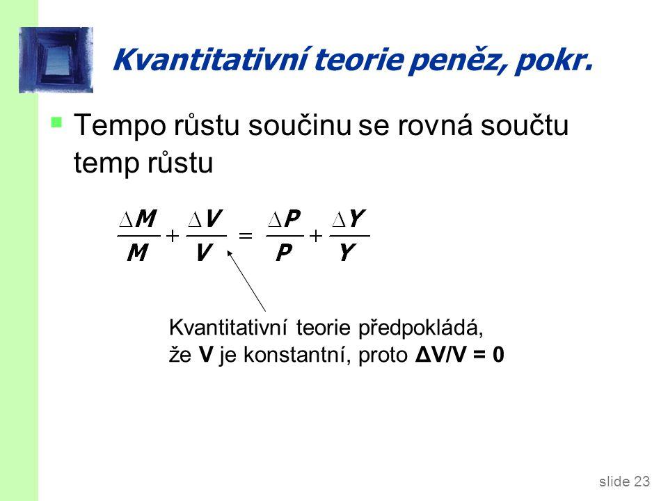 slide 23 Kvantitativní teorie peněz, pokr.