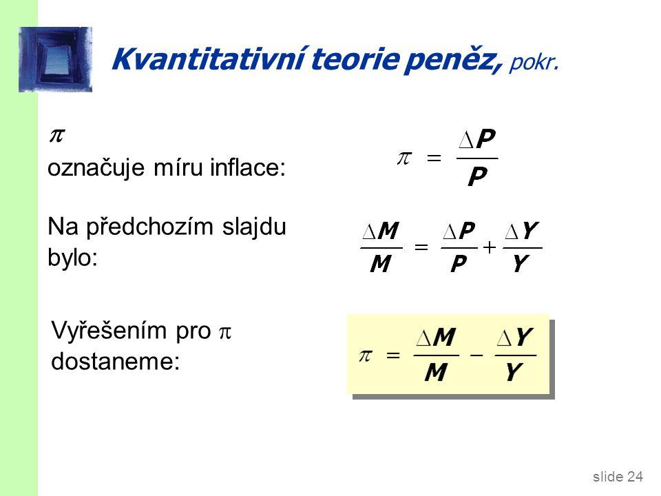 slide 24 Kvantitativní teorie peněz, pokr.