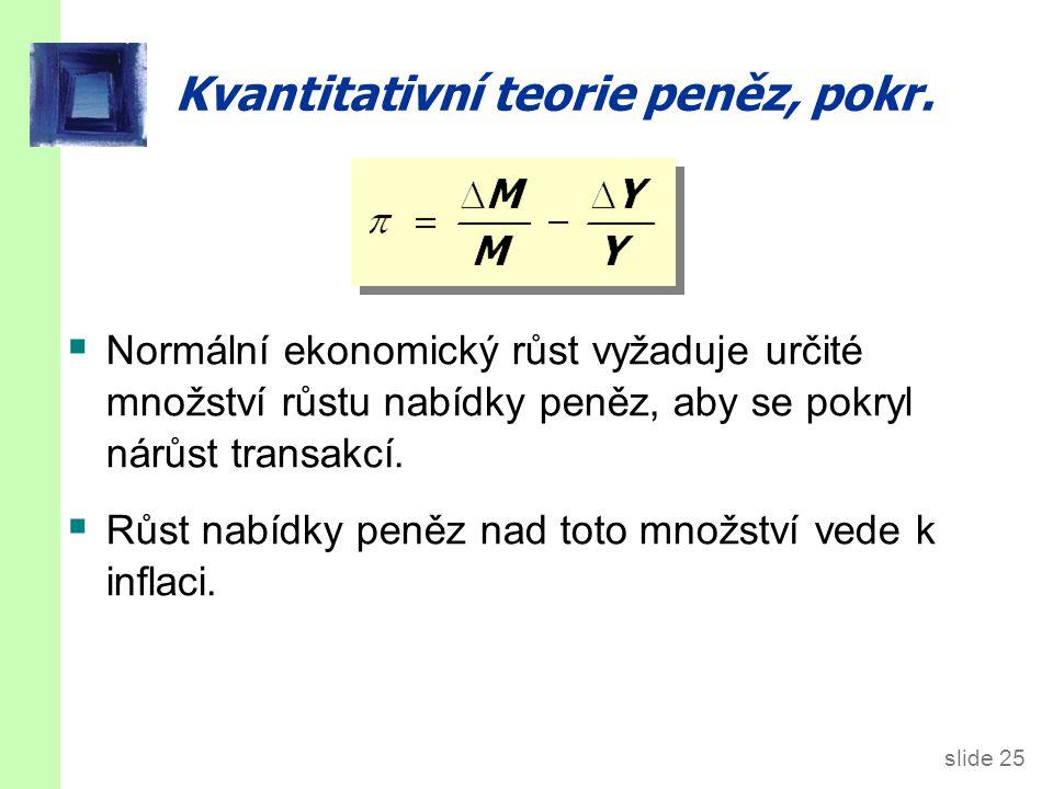 slide 25 Kvantitativní teorie peněz, pokr.