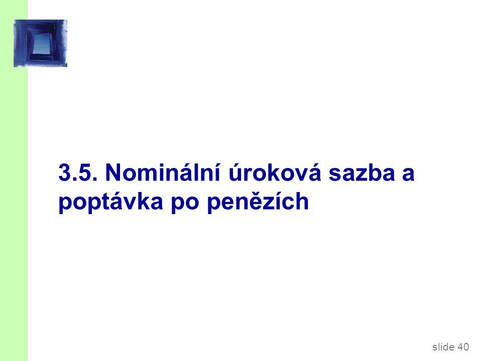 slide 40 3.5. Nominální úroková sazba a poptávka po penězích