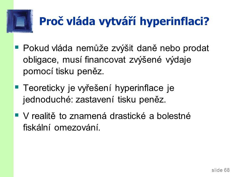slide 68 Proč vláda vytváří hyperinflaci.