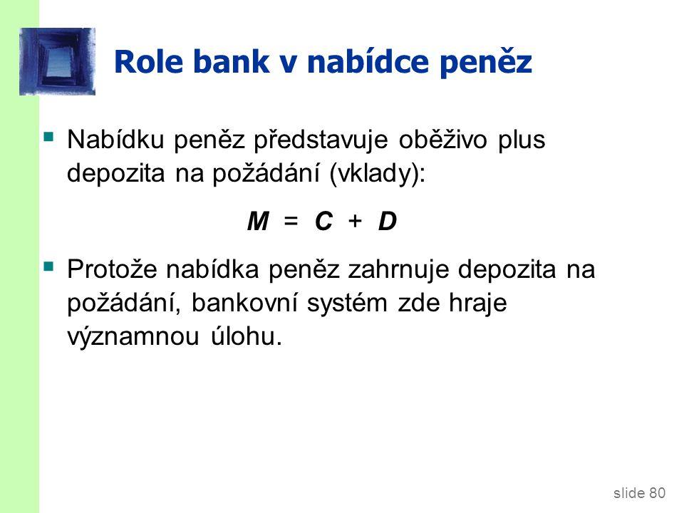 slide 80 Role bank v nabídce peněz  Nabídku peněz představuje oběživo plus depozita na požádání (vklady): M = C + D  Protože nabídka peněz zahrnuje depozita na požádání, bankovní systém zde hraje významnou úlohu.