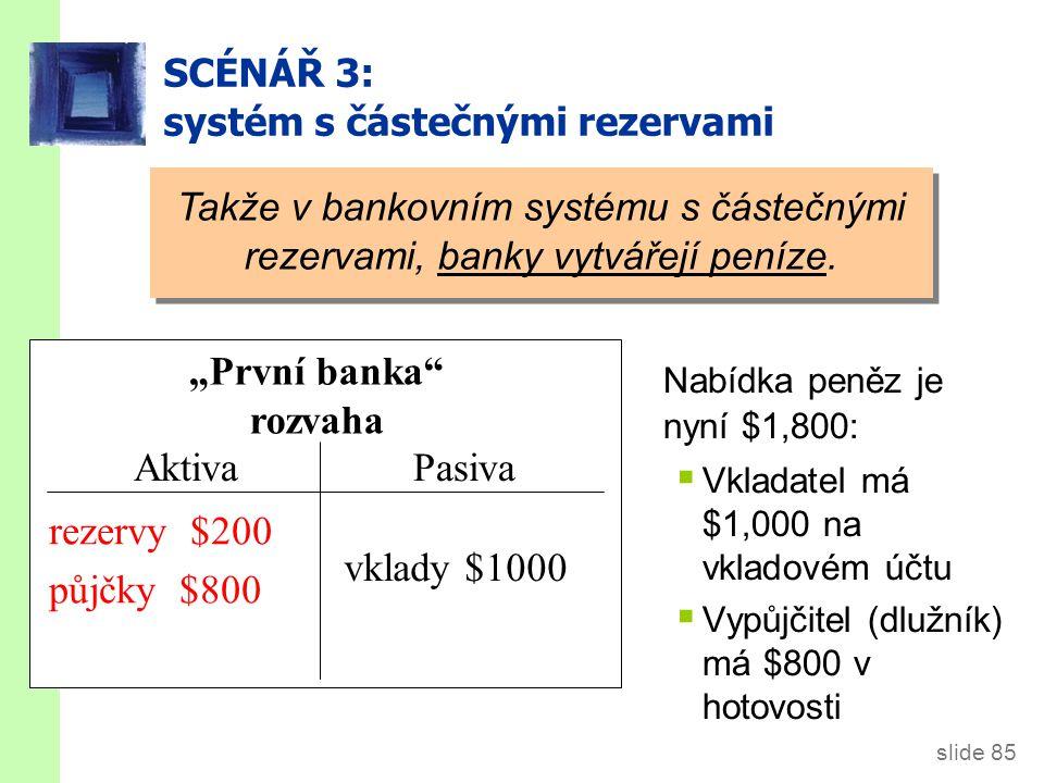 slide 85 SCÉNÁŘ 3: systém s částečnými rezervami reserves $200 loans $800 deposits $1,000 Takže v bankovním systému s částečnými rezervami, banky vytvářejí peníze.