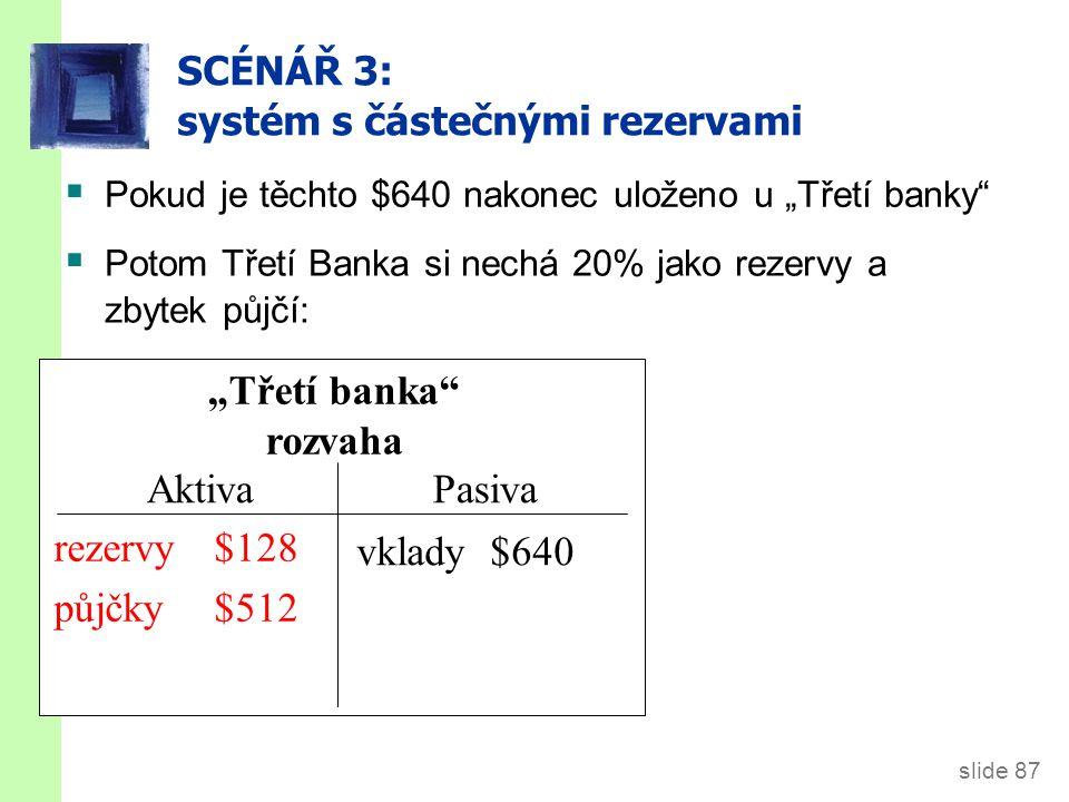 """slide 87 SCÉNÁŘ 3: systém s částečnými rezervami """"Třetí banka rozvaha AktivaPasiva vklady $640  Pokud je těchto $640 nakonec uloženo u """"Třetí banky  Potom Třetí Banka si nechá 20% jako rezervy a zbytek půjčí: rezervy $640 půjčky $0 rezervy $128 půjčky $512"""