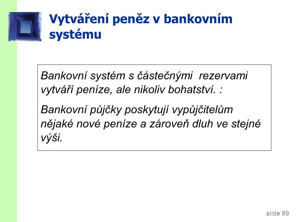 slide 89 Vytváření peněz v bankovním systému Bankovní systém s částečnými rezervami vytváří peníze, ale nikoliv bohatství.