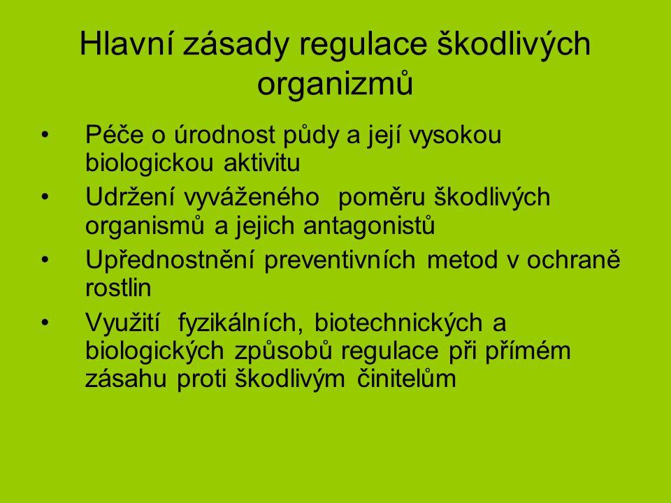 Hlavní zásady regulace škodlivých organizmů Péče o úrodnost půdy a její vysokou biologickou aktivitu Udržení vyváženého poměru škodlivých organismů a