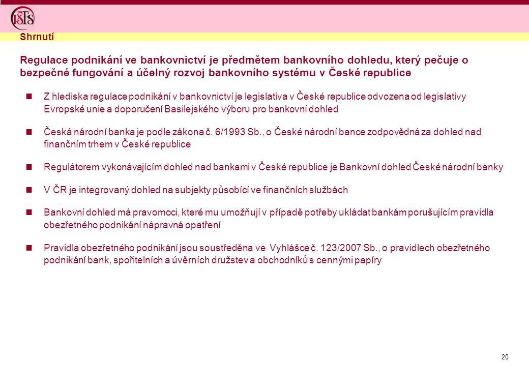 20 Z hlediska regulace podnikání v bankovnictví je legislativa v České republice odvozena od legislativy Evropské unie a doporučení Basilejského výbor