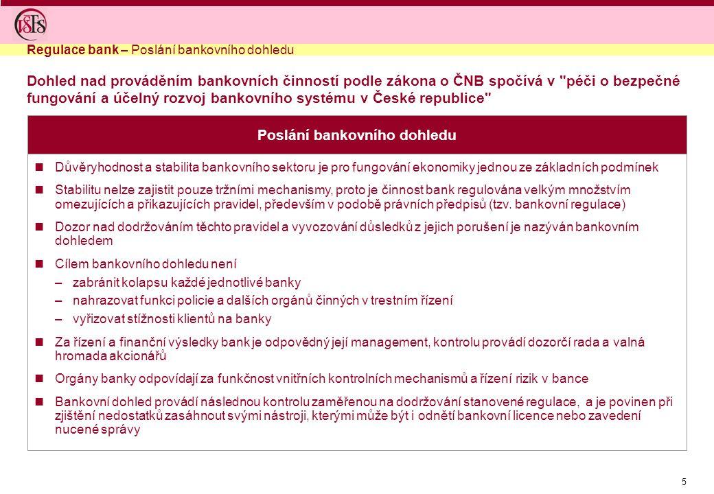 6 Pravomoci bankovního dohledu vydává po předchozím vyjádření ministerstva financí bankovní licence vydává opatření a vyhlášky definující pravidla obezřetného podnikání bank monitoruje činnost bank, poboček zahraničních bank a družstevních záložen provádí dohlídky (kontroly) v bankách, včetně poboček zahraničních bank a v družstevních záložnách vydává předchozí souhlasy podle zákona o bankách např.