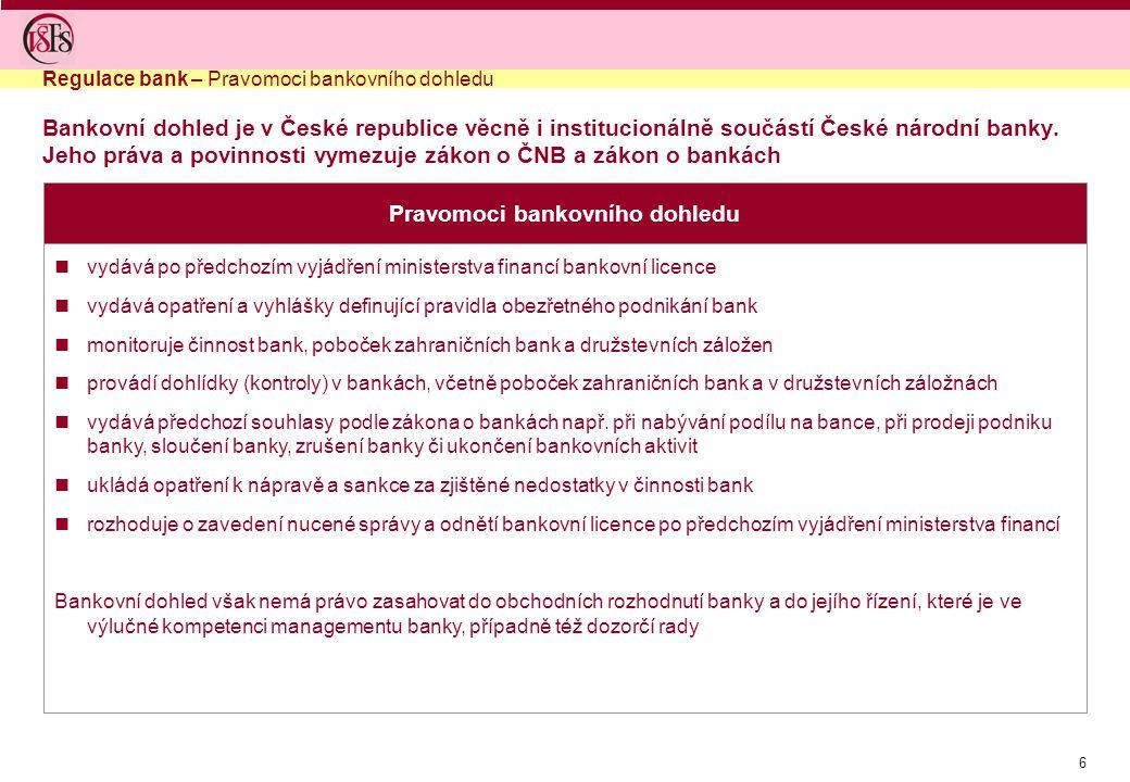 6 Pravomoci bankovního dohledu vydává po předchozím vyjádření ministerstva financí bankovní licence vydává opatření a vyhlášky definující pravidla obe