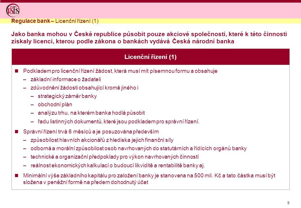 10 Licenční řízení (2) Licence vydaná na základě posouzení žádosti –se vydává na dobu neurčitou –obsahuje výčet činností, které je banka oprávněna provozovat –podmínky, které banka musí splnit před zahájením určité povolené činnosti a dodržovat během této činnosti –uvedení některých činností v licenci může být vázáno na udělení zvláštního povolení V České republice mohou působit i pobočky zahraničních bank, které jsou organizační složkou těchto bank.