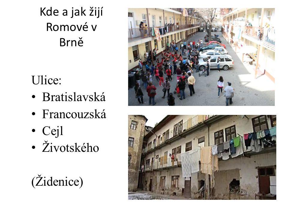 Kde a jak žijí Romové v Brně Ulice: Bratislavská Francouzská Cejl Životského (Židenice)
