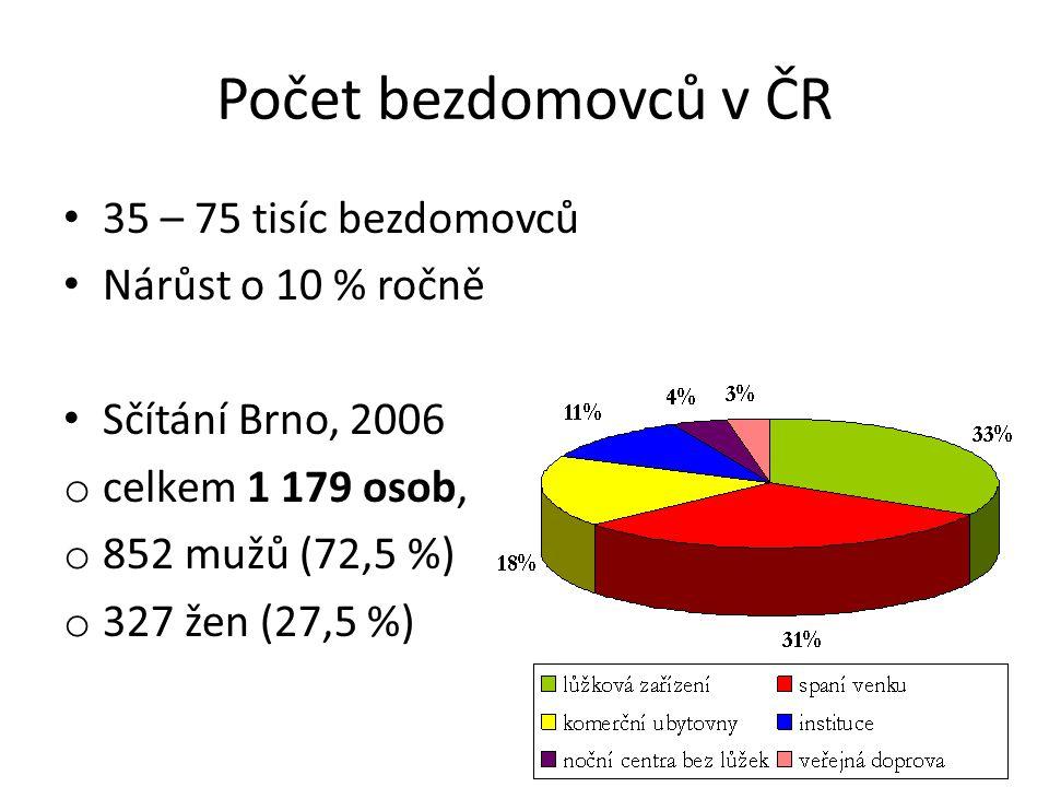 Počet bezdomovců v ČR 35 – 75 tisíc bezdomovců Nárůst o 10 % ročně Sčítání Brno, 2006 o celkem 1 179 osob, o 852 mužů (72,5 %) o 327 žen (27,5 %)