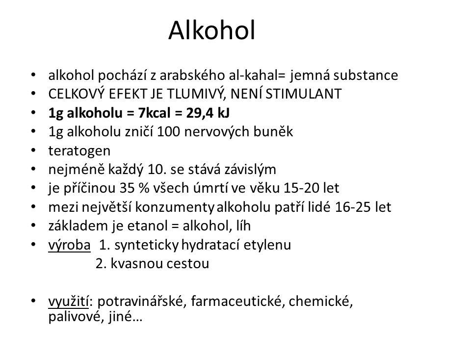 Alkohol alkohol pochází z arabského al-kahal= jemná substance CELKOVÝ EFEKT JE TLUMIVÝ, NENÍ STIMULANT 1g alkoholu = 7kcal = 29,4 kJ 1g alkoholu zničí