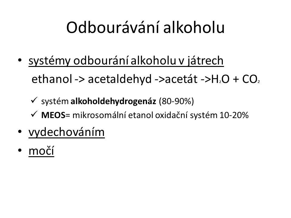 Odbourávání alkoholu systémy odbourání alkoholu v játrech ethanol -> acetaldehyd ->acetát ->H 2 O + CO 2 systém alkoholdehydrogenáz (80-90%) MEOS= mik