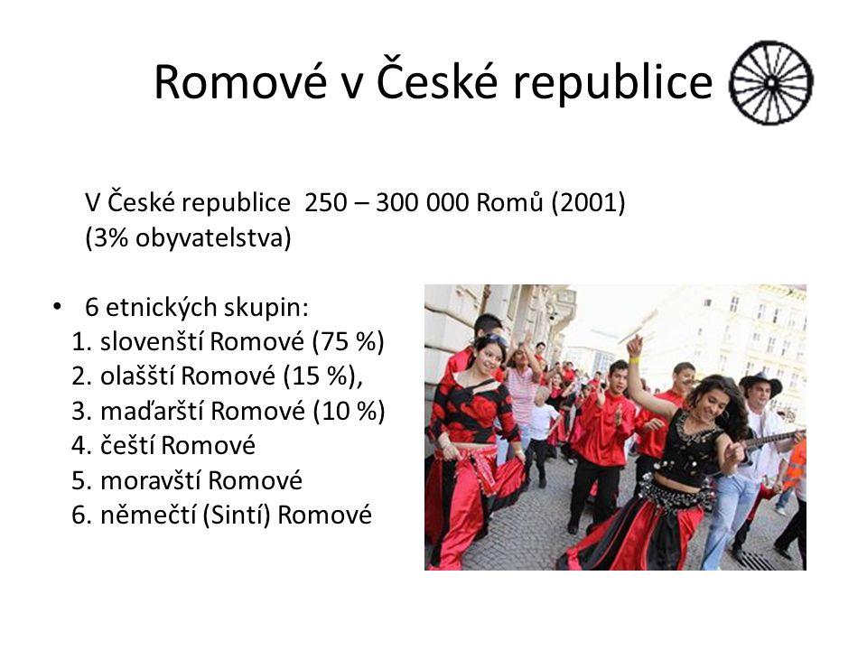 Romové v České republice V České republice 250 – 300 000 Romů (2001) (3% obyvatelstva) 6 etnických skupin: 1. slovenští Romové (75 %) 2. olašští Romov