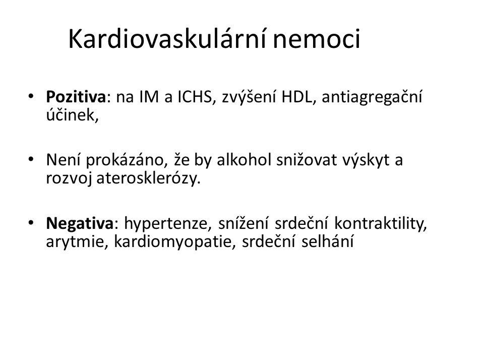Kardiovaskulární nemoci Pozitiva: na IM a ICHS, zvýšení HDL, antiagregační účinek, Není prokázáno, že by alkohol snižovat výskyt a rozvoj ateroskleróz