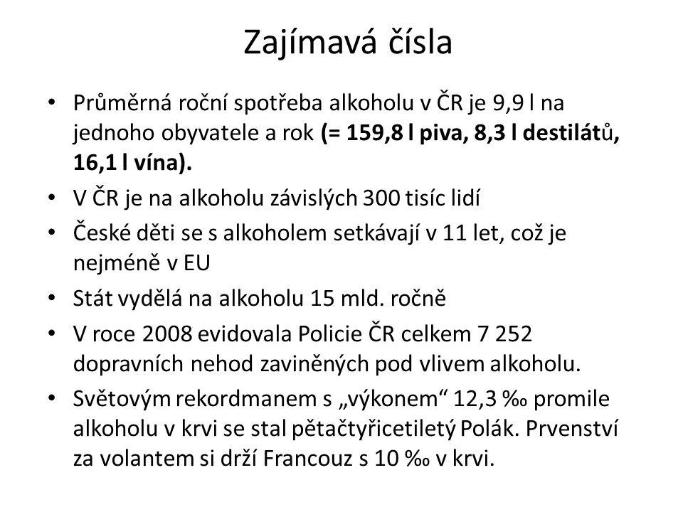 Zajímavá čísla Průměrná roční spotřeba alkoholu v ČR je 9,9 l na jednoho obyvatele a rok (= 159,8 l piva, 8,3 l destilátů, 16,1 l vína). V ČR je na al