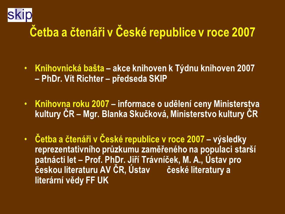 Četba a čtenáři v České republice v roce 2007 Knihovnická bašta – akce knihoven k Týdnu knihoven 2007 – PhDr.