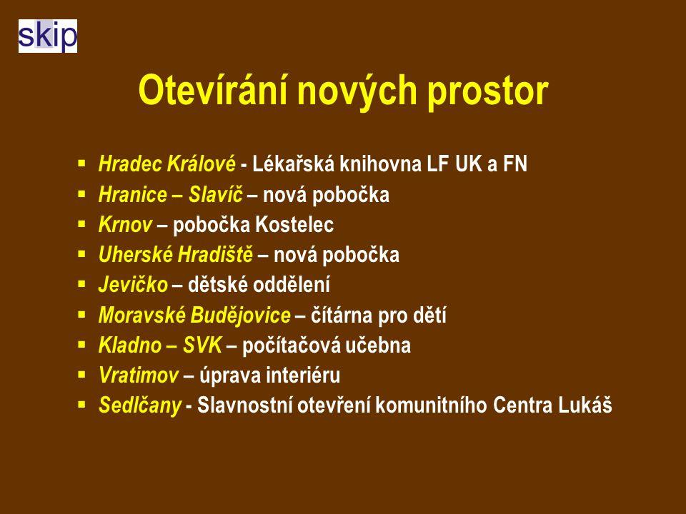 Otevírání nových prostor  Hradec Králové - Lékařská knihovna LF UK a FN  Hranice – Slavíč – nová pobočka  Krnov – pobočka Kostelec  Uherské Hradiš