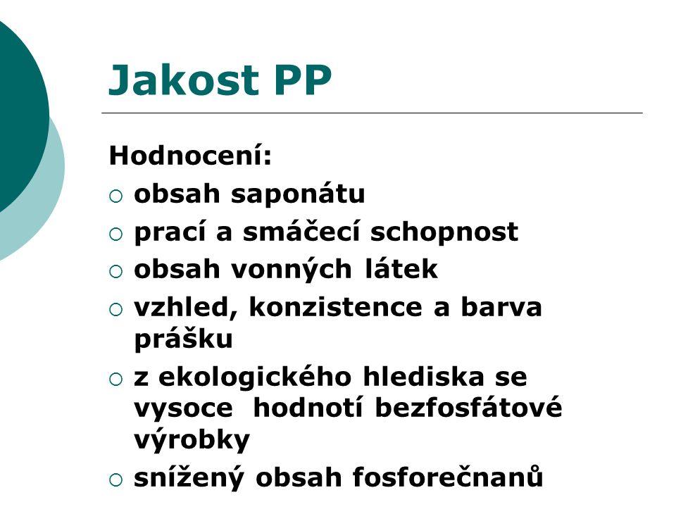 Jakost PP Hodnocení:  obsah saponátu  prací a smáčecí schopnost  obsah vonných látek  vzhled, konzistence a barva prášku  z ekologického hlediska se vysoce hodnotí bezfosfátové výrobky  snížený obsah fosforečnanů