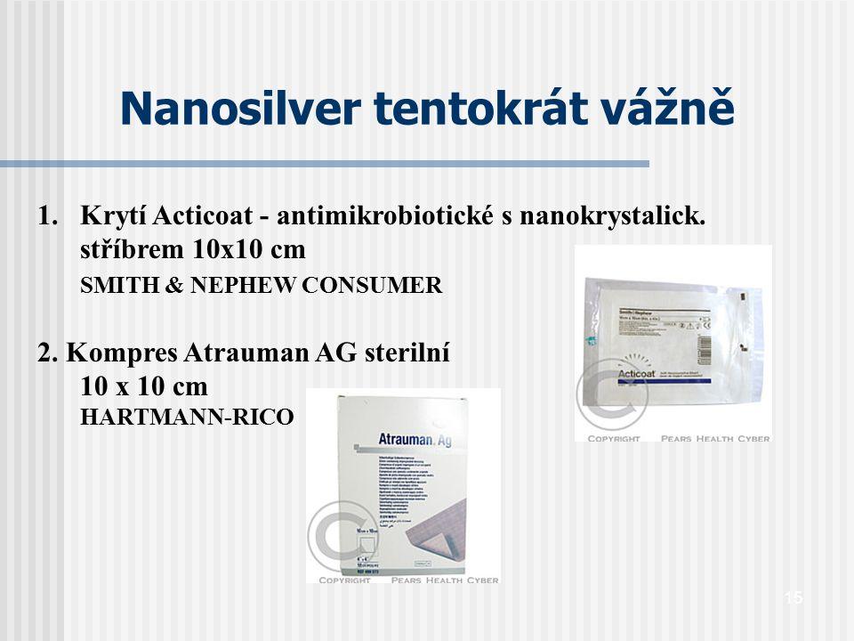15 Nanosilver tentokrát vážně 1.Krytí Acticoat - antimikrobiotické s nanokrystalick. stříbrem 10x10 cm SMITH & NEPHEW CONSUMER 2. Kompres Atrauman AG