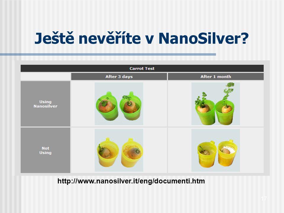 17 Ještě nevěříte v NanoSilver? http://www.nanosilver.it/eng/documenti.htm