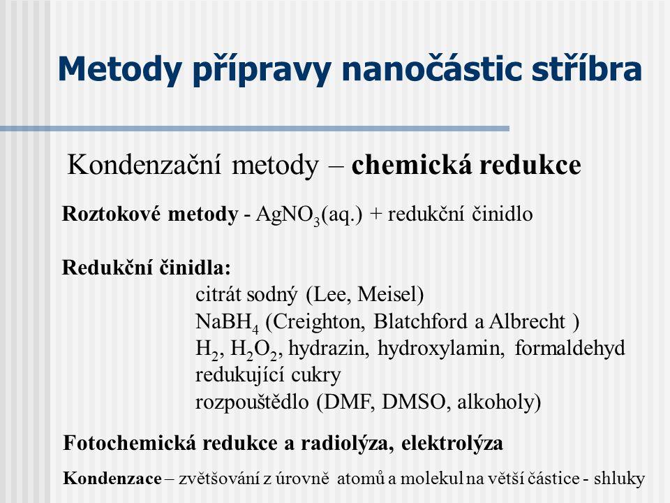 Metody přípravy nanočástic stříbra Roztokové metody - AgNO 3 (aq.) + redukční činidlo Redukční činidla: citrát sodný (Lee, Meisel) NaBH 4 (Creighton,