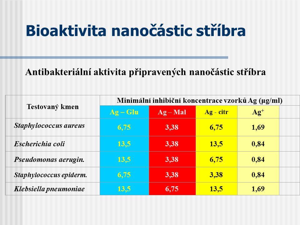 Bioaktivita nanočástic stříbra Testovaný kmen Minimální inhibiční koncentrace vzorků Ag (μg/ml) Ag – Glu Ag – Mal Ag - citr Ag + Staphylococcus aureus