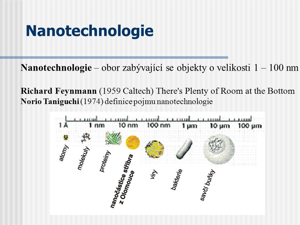 Nanotechnologie Nanotechnologie – obor zabývající se objekty o velikosti 1 – 100 nm Richard Feynmann (1959 Caltech) There's Plenty of Room at the Bott