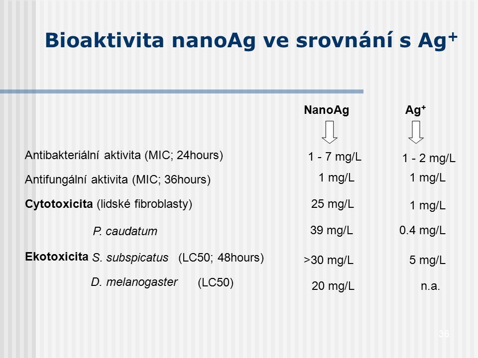 36 Bioaktivita nanoAg ve srovnání s Ag + Antibakteriální aktivita (MIC; 24hours) Antifungální aktivita (MIC; 36hours) NanoAg Ag + 1 - 7 mg/L Cytotoxic