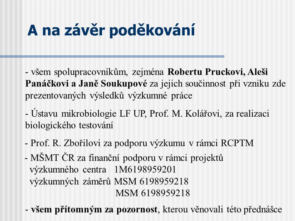 A na závěr poděkování - MŠMT ČR za finanční podporu v rámci projektů výzkumného centra 1M6198959201 výzkumných záměrů MSM 6198959218 MSM 6198959218 -