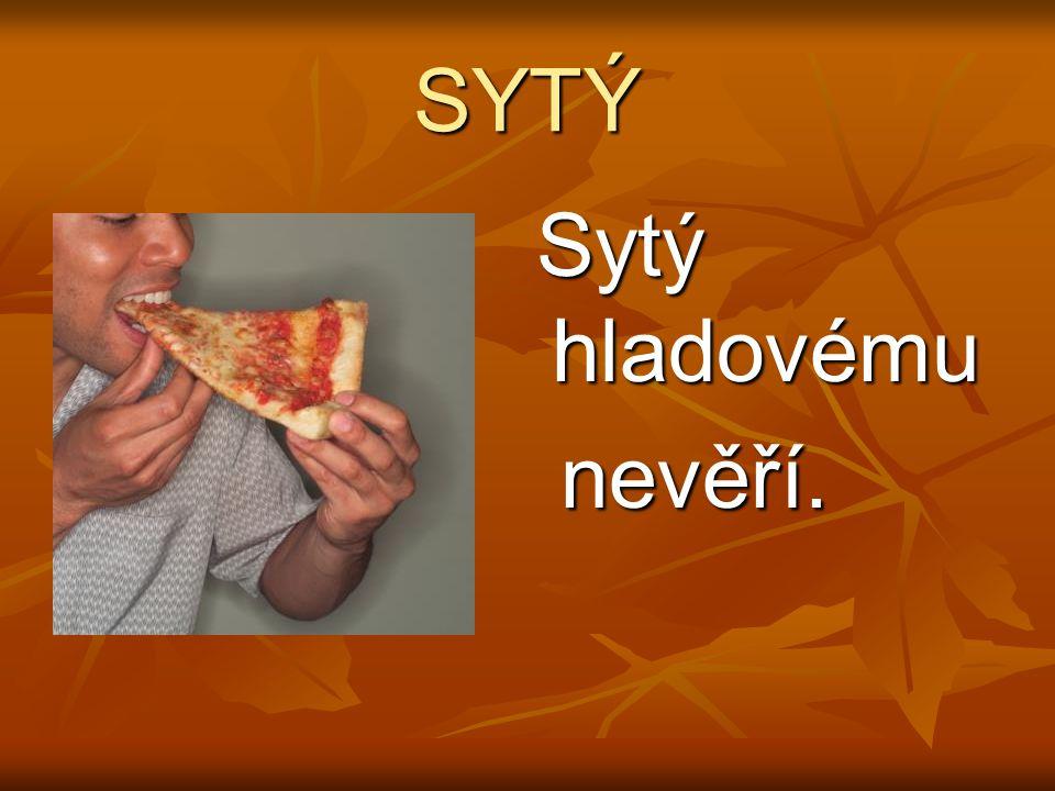 SYTÝ Sytý hladovému Sytý hladovému nevěří. nevěří.