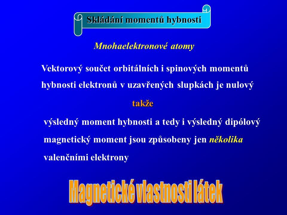 Skládání momentů hybnosti Mnohaelektronové atomy Vektorový součet orbitálních i spinových momentů hybnosti elektronů v uzavřených slupkách je nulový takže výsledný moment hybnosti a tedy i výsledný dipólový magnetický moment jsou způsobeny jen několika valenčními elektrony