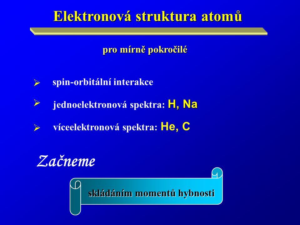 Začneme skládáním momentů hybnosti Elektronová struktura atomů pro mírně pokročilé     spin-orbitální interakce H, Na jednoelektronová spektra: H, Na víceelektronová spektra: He, C  
