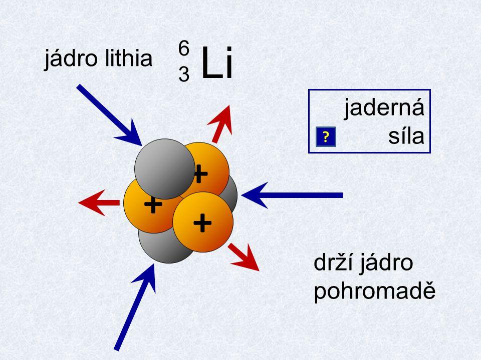 jádro lithia Li 6363 jaderná síla + + + drží jádro pohromadě