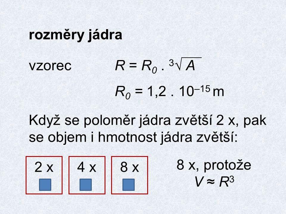 rozměry jádra vzorecR = R 0. 3 √ A R 0 = 1,2.