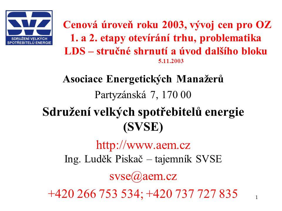 1 Cenová úroveň roku 2003, vývoj cen pro OZ 1. a 2. etapy otevírání trhu, problematika LDS – stručné shrnutí a úvod dalšího bloku 5.11.2003 Asociace E
