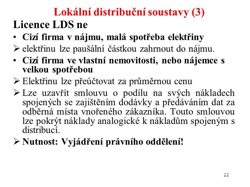 22 Lokální distribuční soustavy (3) Licence LDS ne Cizí firma v nájmu, malá spotřeba elektřiny  elektřinu lze paušální částkou zahrnout do nájmu. Ciz