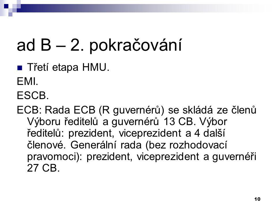 10 ad B – 2. pokračování Třetí etapa HMU. EMI. ESCB. ECB: Rada ECB (R guvernérů) se skládá ze členů Výboru ředitelů a guvernérů 13 CB. Výbor ředitelů: