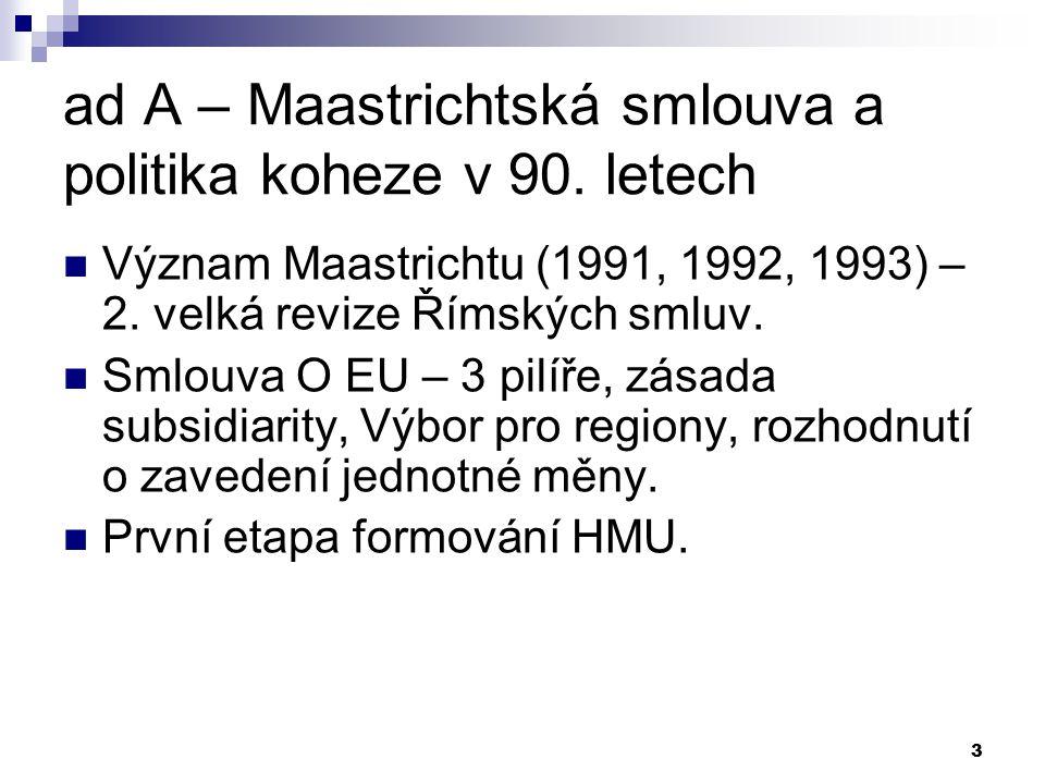 3 ad A – Maastrichtská smlouva a politika koheze v 90. letech Význam Maastrichtu (1991, 1992, 1993) – 2. velká revize Římských smluv. Smlouva O EU – 3