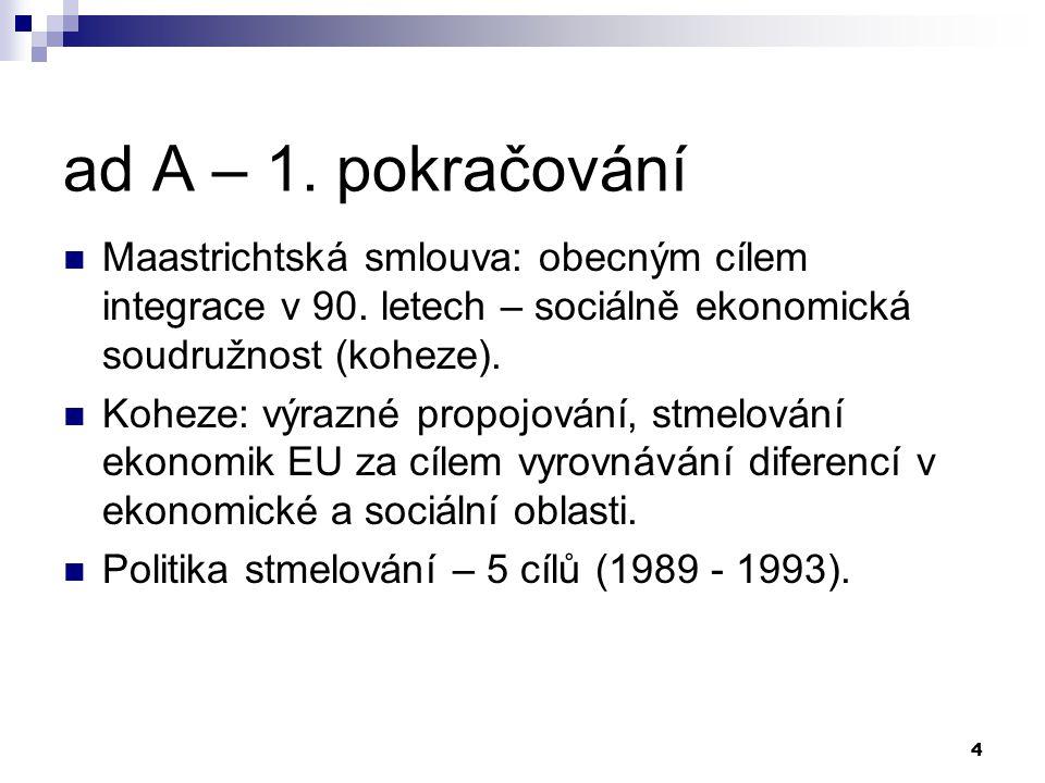 4 ad A – 1. pokračování Maastrichtská smlouva: obecným cílem integrace v 90. letech – sociálně ekonomická soudružnost (koheze). Koheze: výrazné propoj