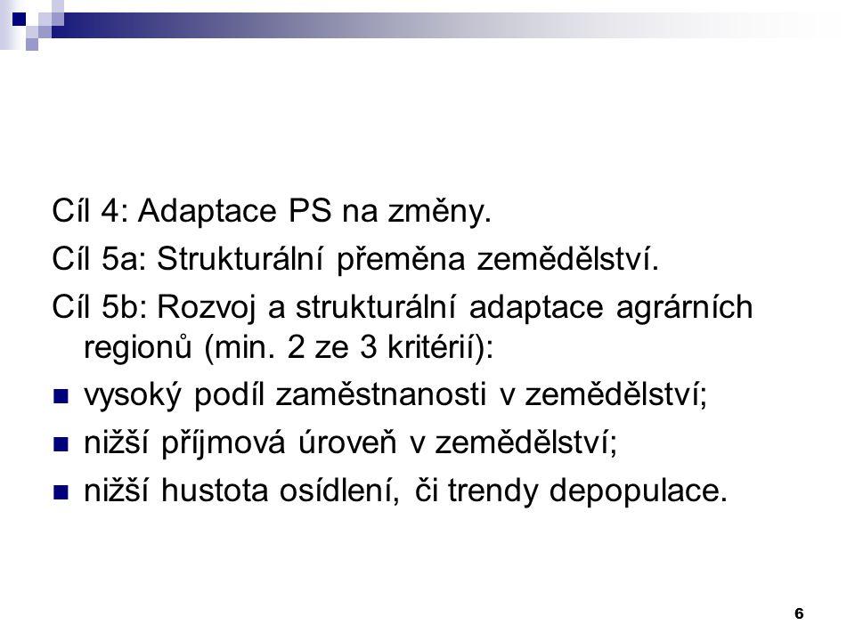 6 Cíl 4: Adaptace PS na změny. Cíl 5a: Strukturální přeměna zemědělství. Cíl 5b: Rozvoj a strukturální adaptace agrárních regionů (min. 2 ze 3 kritéri