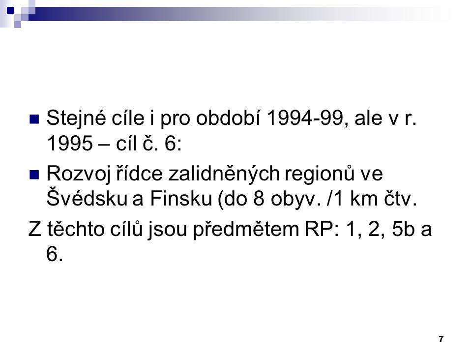 7 Stejné cíle i pro období 1994-99, ale v r. 1995 – cíl č.