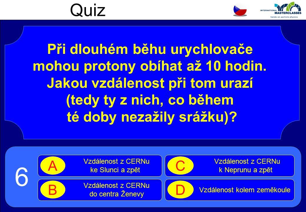 Quiz Při dlouhém běhu urychlovače mohou protony obíhat až 10 hodin.