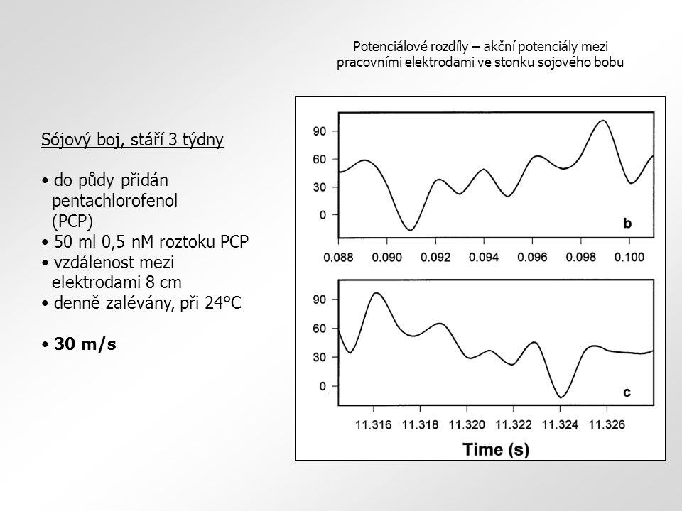 Sójový boj, stáří 3 týdny do půdy přidán pentachlorofenol (PCP) 50 ml 0,5 nM roztoku PCP vzdálenost mezi elektrodami 8 cm denně zalévány, při 24°C 30 m/s Potenciálové rozdíly – akční potenciály mezi pracovními elektrodami ve stonku sojového bobu