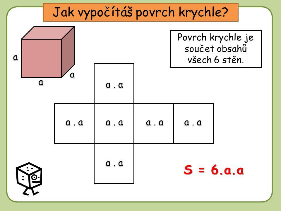 DD Jak vypočítáš povrch krychle.Povrch krychle je součet obsahů všech 6 stěn.
